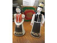 Vintage hollohaza Man and Woman Figurine hand painted Porcelain Hungarian