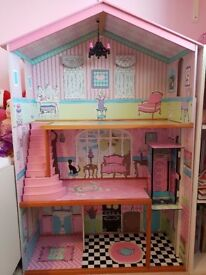 Wooden dolls house, ideal for barbies or other figures