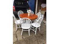 Farmhouse dining room table with six solid chairs £250