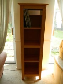 Attractive record storage /bookcase. one fixed shelf ,two adjustable shelves 159cm x 44cm x 39cm
