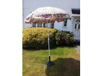 Small garden parasol and base
