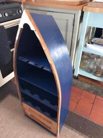 Boat shaped wine rack