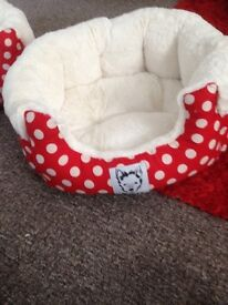 Red spotty dog bed