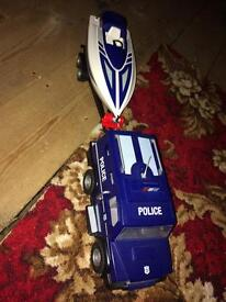 Playmobil police truck and speedboat