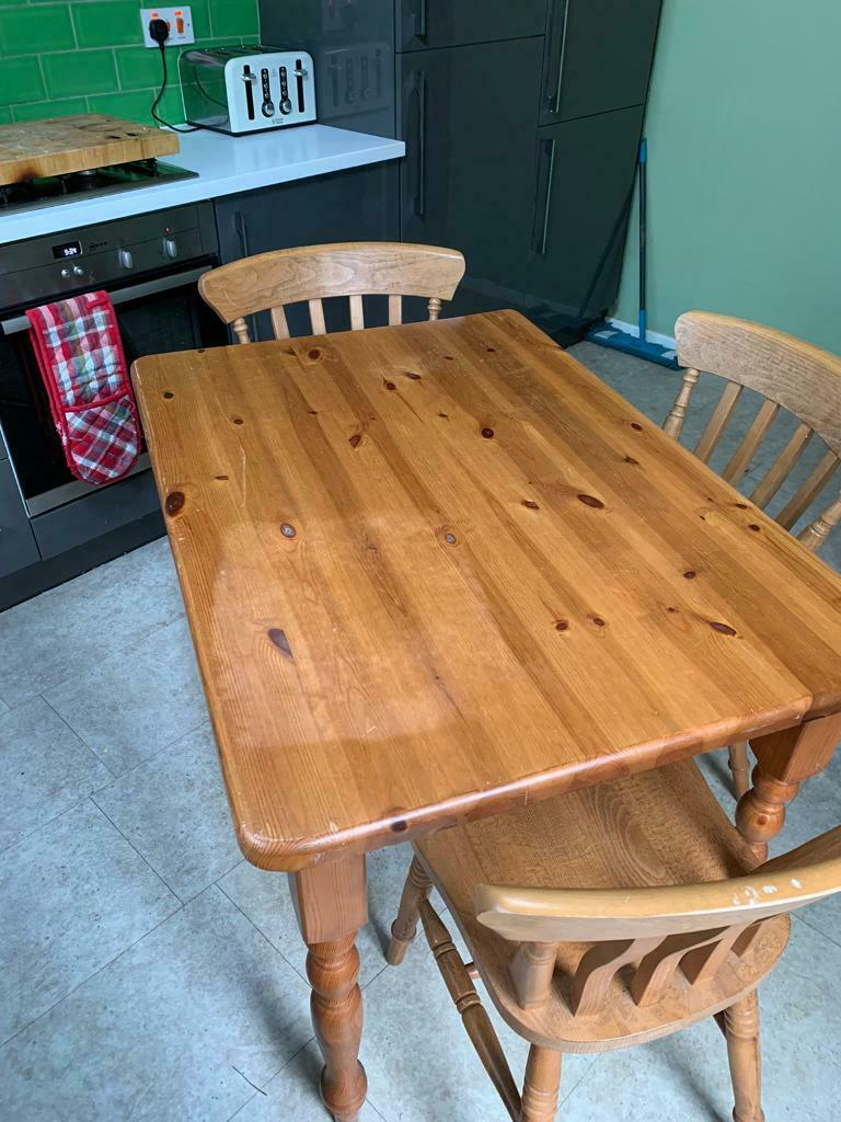 solid pine kitchen dining table with 3 chairs  in