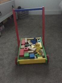 Wooden walking aid/trolley and blocks