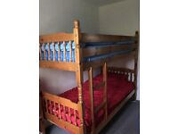Good Quality Pine Bunk Bed plus one single bed mattress