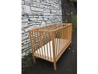 Mothercare Cot and Matress Hardly used