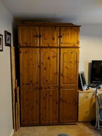 Solid Antique Pine Wardrobe and Top Box