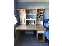 Super quality Ikea glass top desk - shelving unit and cupboard