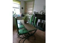 Wrought Iron and Glass dining table and 6 chairs