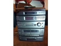 SONY HI FI (CD PLAYER, RECORD DECK, 2 TAPE DECKS, FM/MW/LW RADIO, AERIALS, REMOTE & SONY SPEAKERS)
