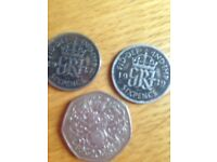 Two silver coins 1 twenty pence