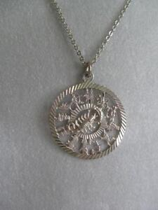 GORGEOUS OLD VINTAGE STERLING SILVER ASTROLOGY NECKLACE