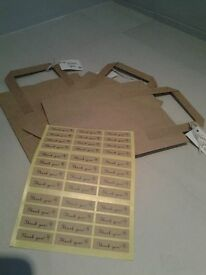 Brown gift bags with thank you tags