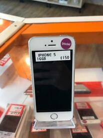 iPhone 5, 16gb, white and silver,unlocked