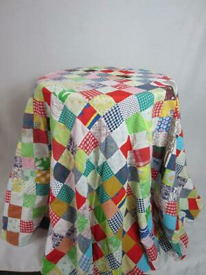 """True Vintage Patchwork Table Cloth Topper 72"""" Diameter 2"""" Patches -  Americana"""