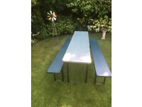 Garden table and bench set - wooden vintage beer Keller style