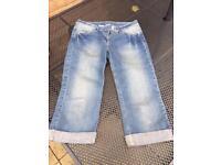 Size 12 glitter detail 3/4 jeans