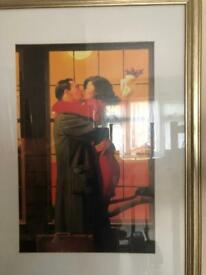 Kissing couple framed picture