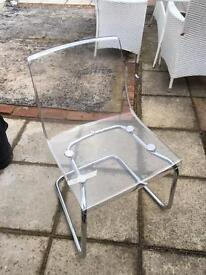 Clear and chrome chair