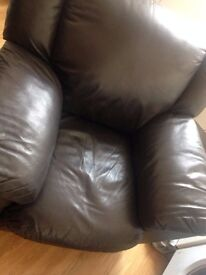 2x Free Dark Brown Leather Armchairs