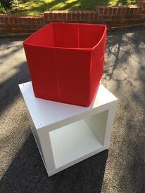 Small cube storage with red insert
