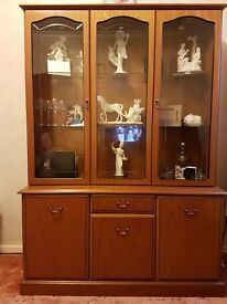 LARGE Display cabinet, solid wood drawers, cupboard, glass front display