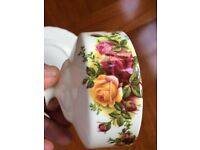 Royal Albert Old Country Roses Lidded Butter dome and plate, mint condition