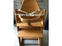 STOKKE TRIPP TRAPP HIGH CHAIR/Includes baby bar & padded back textile