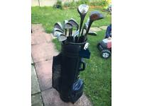 Wilson and Walter Hagen golf clubs and bag