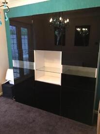 Ikea black high gloss dining storage display cabinet