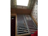 Oak effect double bed frame with matching unit