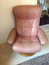 Ekornes Stressless leather reclining chair with footstool