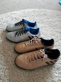 2 pairs of boys Size 1 Messi Adidas football trainers