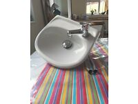Hand Basin - Small white ceramic wash hand basin with mixer tap £20 ono