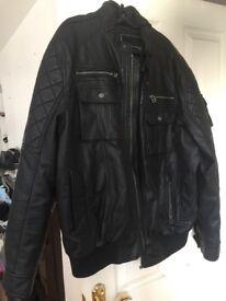 Black men's leather look jacket