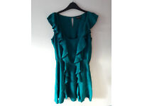 Green silk tunic top with frills ONO