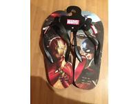 Men's marvel ironman captain America flip flops stocking filler