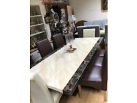 Beautiful cream and brown engineered marble dining table