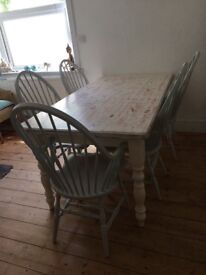 Shabby Chic Solid Wood Table & 6 Chairs (Two Carvers)