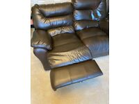 2 and 3 seater brown leather settees each with two electric recliners