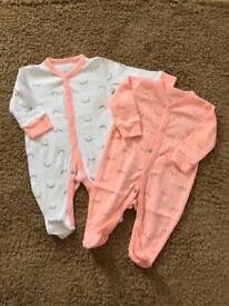 💕 NEW 💕 Baby Girl sleepsuits babygrowths 0-3 months