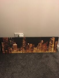 Golden cityscape canvas wall art