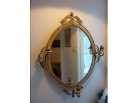 """Shabby Chic Painted Wrought Iron Oval Candle Sconce Holders Wall Mirror 33""""/84cm"""