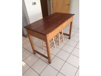 Vintage school science desk and two stools. Great dining table or kitchen island.
