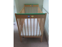 Solid wood Mothercare dropside cot