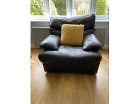 Excellent condition G Plan dark brown leather 3 piece suite