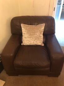 Italian brown leather chair