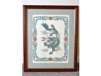 Hand embroidered Oriental Pictures C/W frames